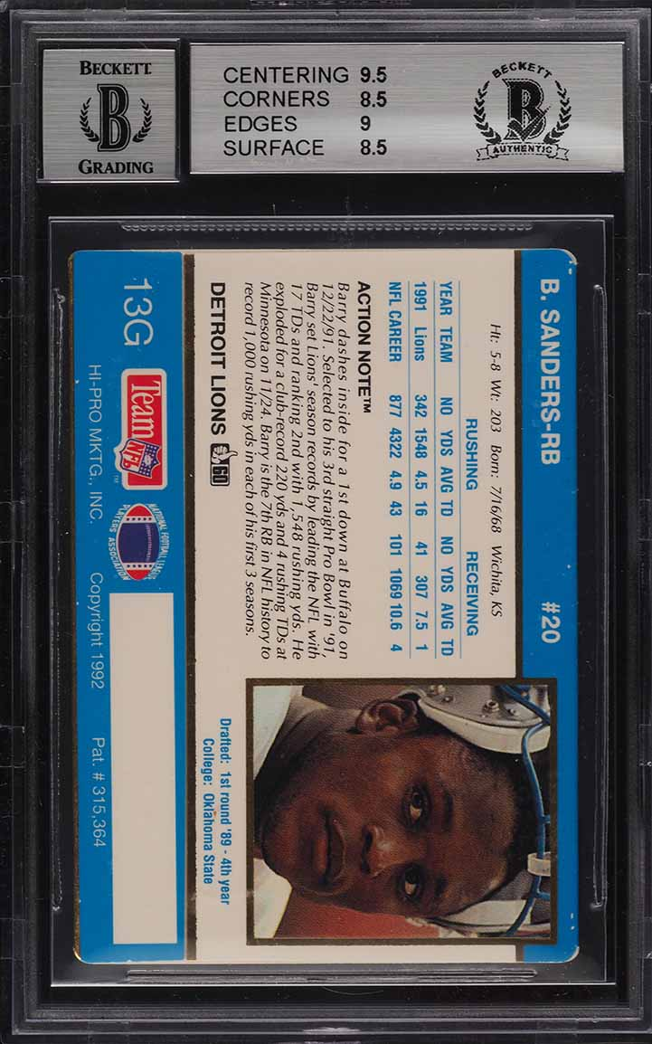 1992 Action Packed 24K Gold Barry Sanders AUTO #13G BAS BGS 8.5 NM-MT+ (PWCC) - Image 2