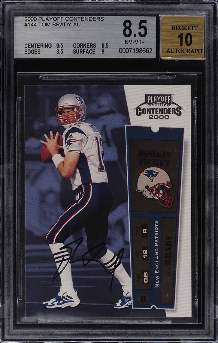 2000 Playoff Contenders Tom Brady ROOKIE RC AUTO #144 BGS 8.5 NM-MT+ - Image 1