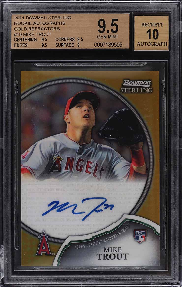 2011 Bowman Sterling Gold Refractor Mike Trout ROOKIE RC AUTO /50 #19 BGS 9.5 - Image 1