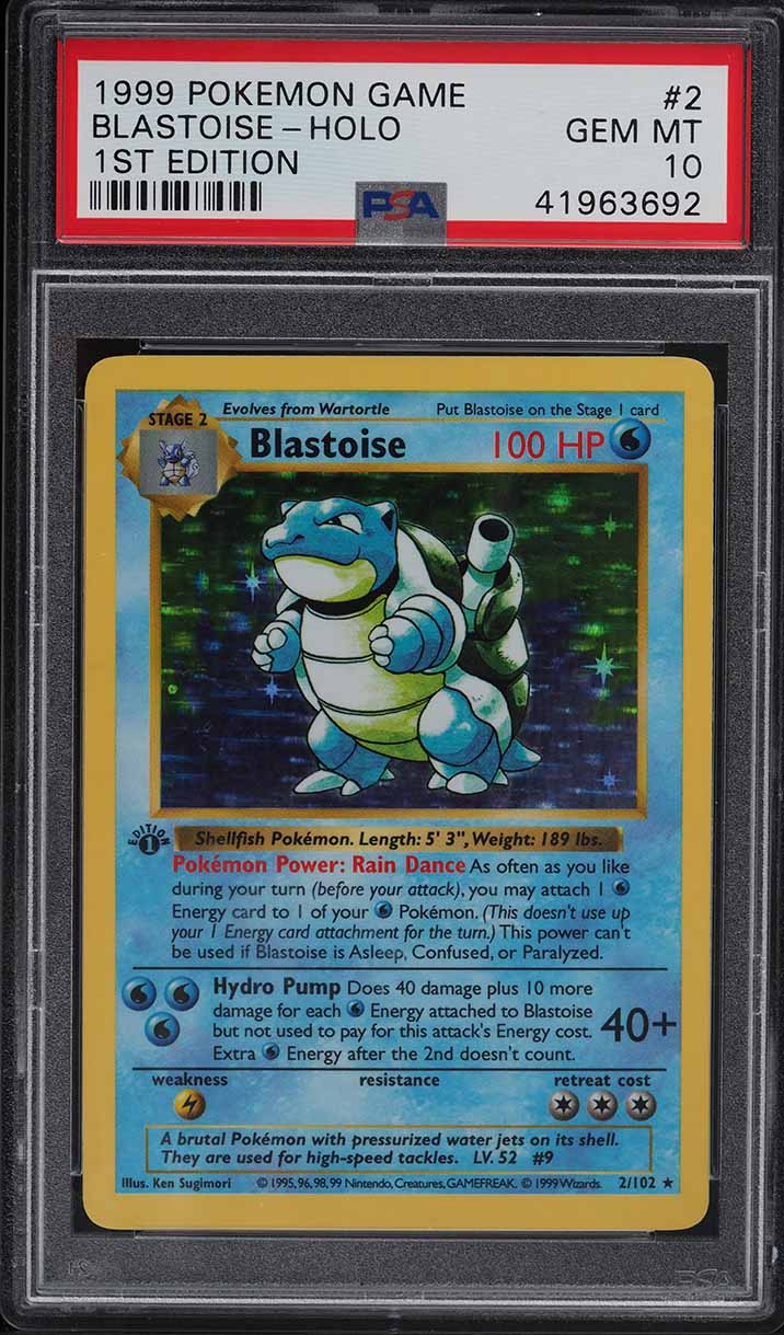 1999 Pokemon Base Set 1st Edition Shadowless Holo Blastoise #2 PSA 10 GEM MINT - Image 1