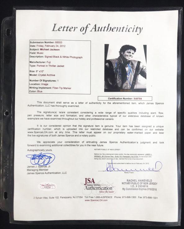 Michael Jackson Signed Autographed 8x10 Framed Photo AUTO, JSA LOA (PWCC) - Image 3