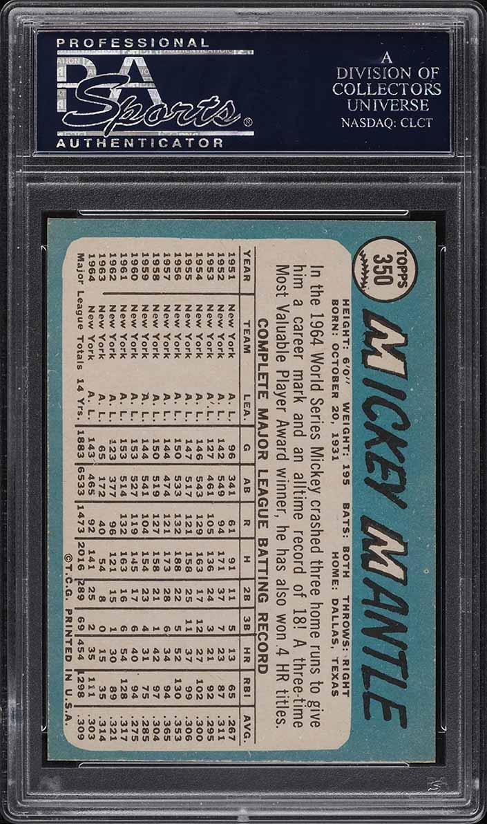 1965 Topps Mickey Mantle #350 PSA 9 MINT (PWCC) - Image 2