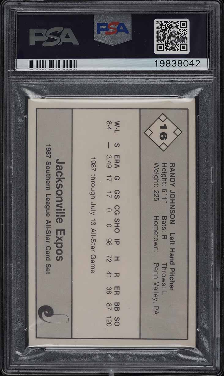 1987 Donn Jennings Southern League All-Stars Randy Johnson ROOKIE RC #16 PSA 10 - Image 2