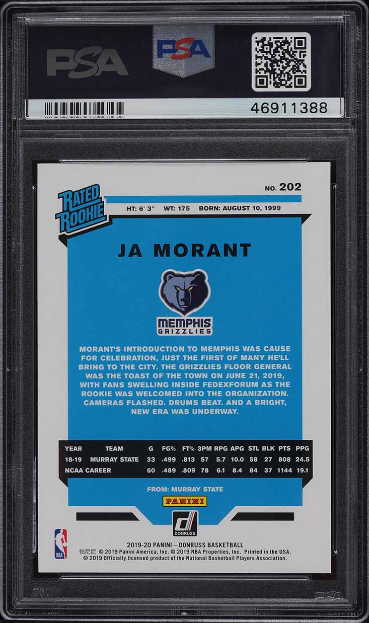 2019 Donruss Basketball Ja Morant ROOKIE RC #202 PSA 9 MINT - Image 2