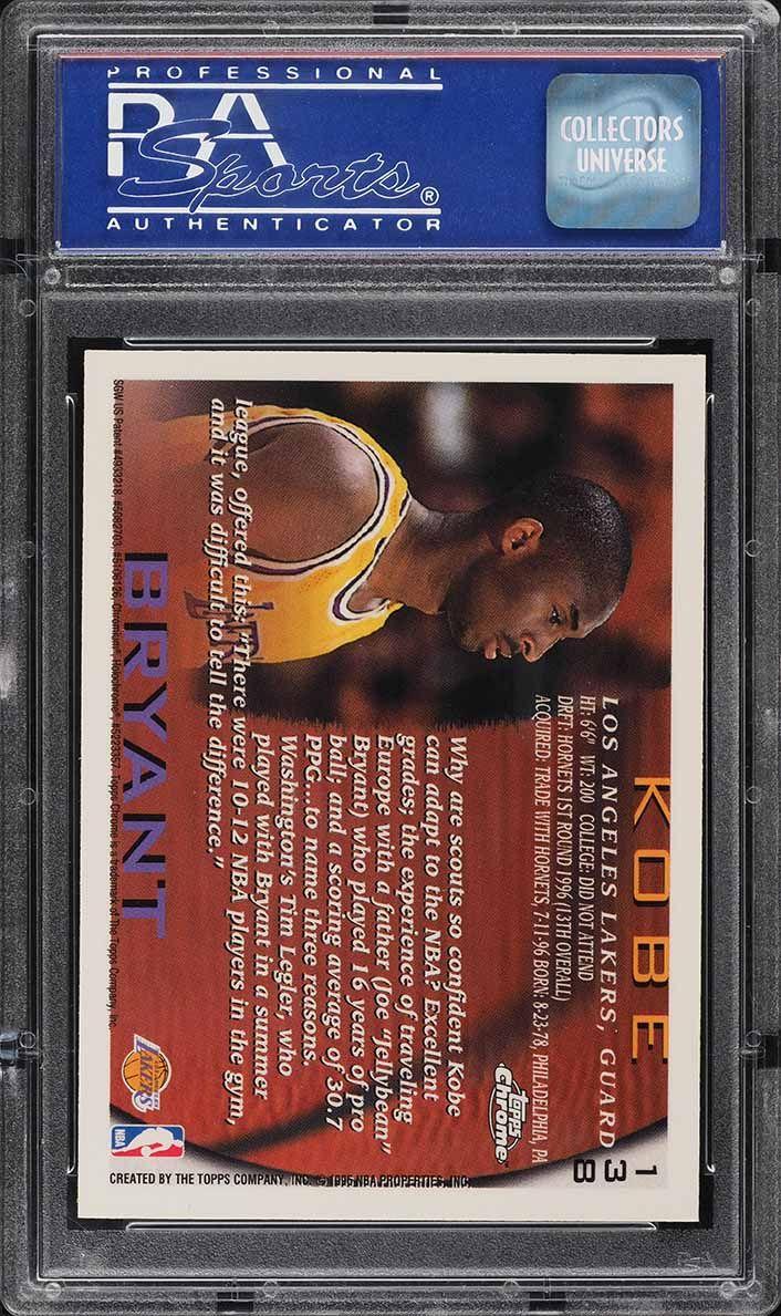 1996 Topps Chrome Kobe Bryant ROOKIE RC #138 PSA 10 GEM MINT - Image 2
