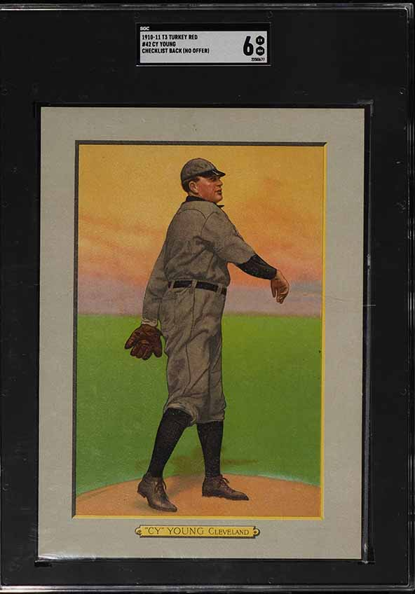 1911 T3 Turkey Red Cy Young CHECKLIST BACK #42 SGC 6 EXMT (PWCC-A) - Image 1