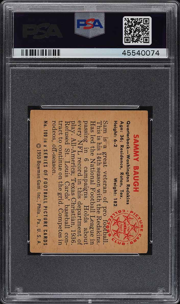 1950 Bowman Football Sammy Baugh #100 PSA 4 VGEX (PWCC) - Image 2