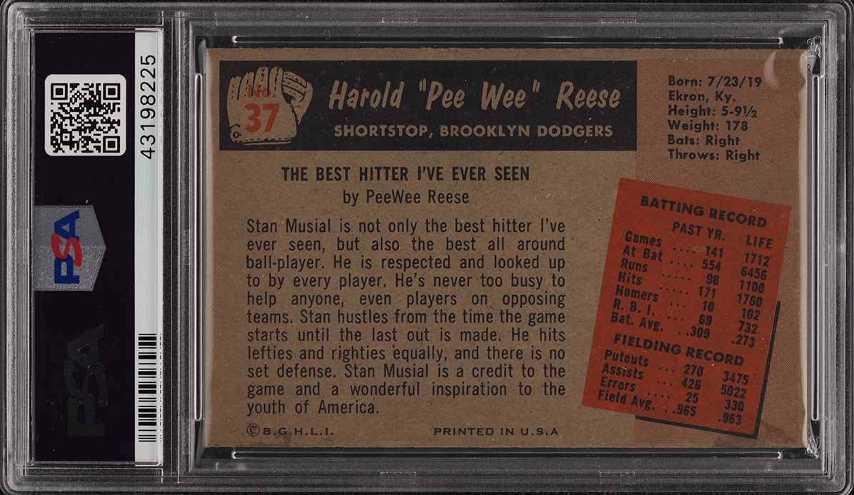 1955 Bowman Pee Wee Reese #37 PSA 7 NRMT (PWCC) - Image 2