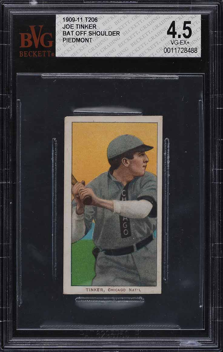 1909-11 T206 Joe Tinker BAT OFF SHOULDER #488 BVG 4.5 VGEX+ (PWCC) - Image 1