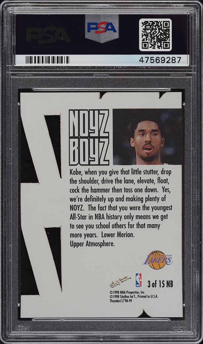 1998 Skybox Thunder Noyz Boyz Kobe Bryant #3 PSA 10 GEM MINT - Image 2