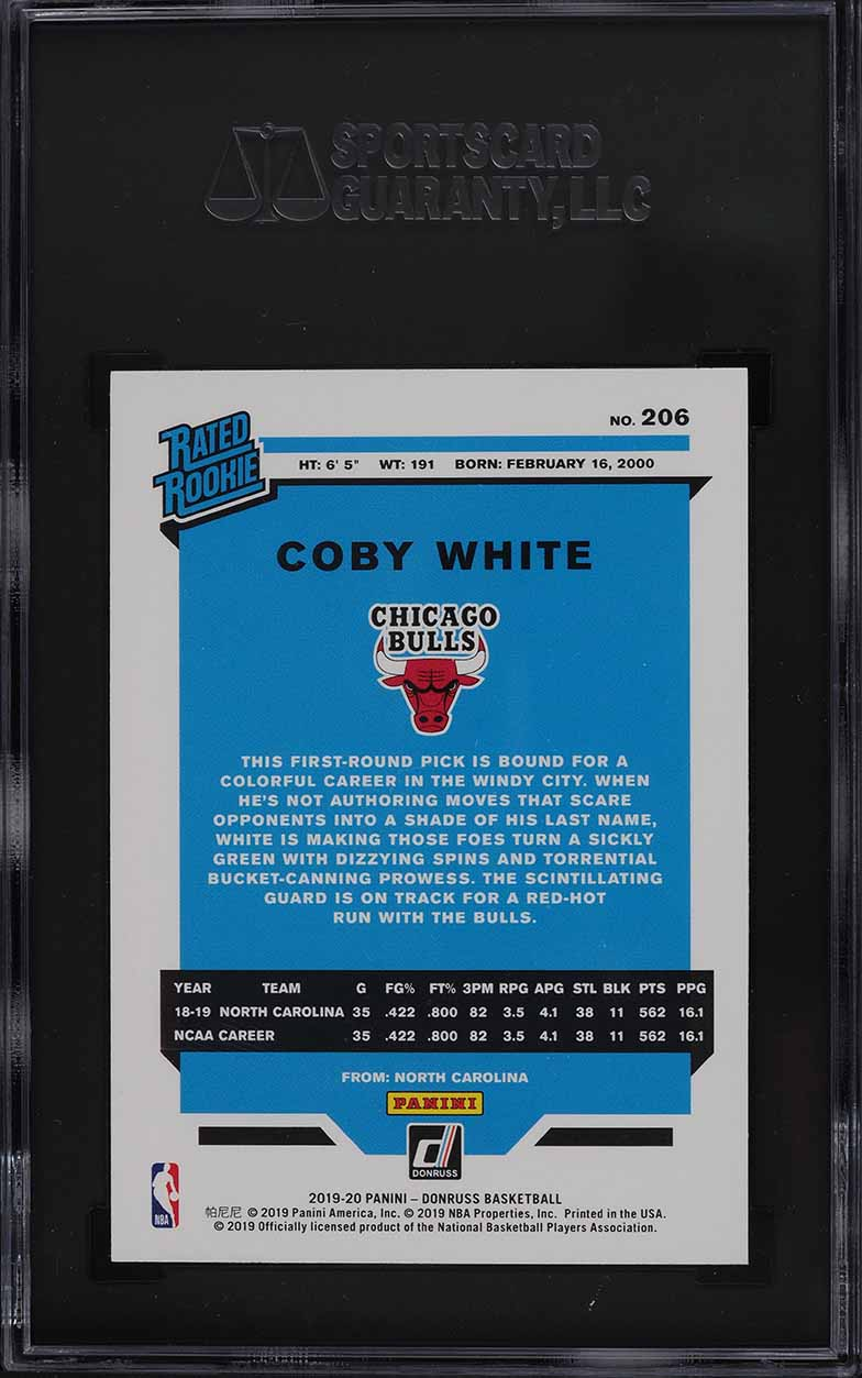 2019 Donruss Basketball Coby White ROOKIE RC #206 SGC 9 MINT - Image 2