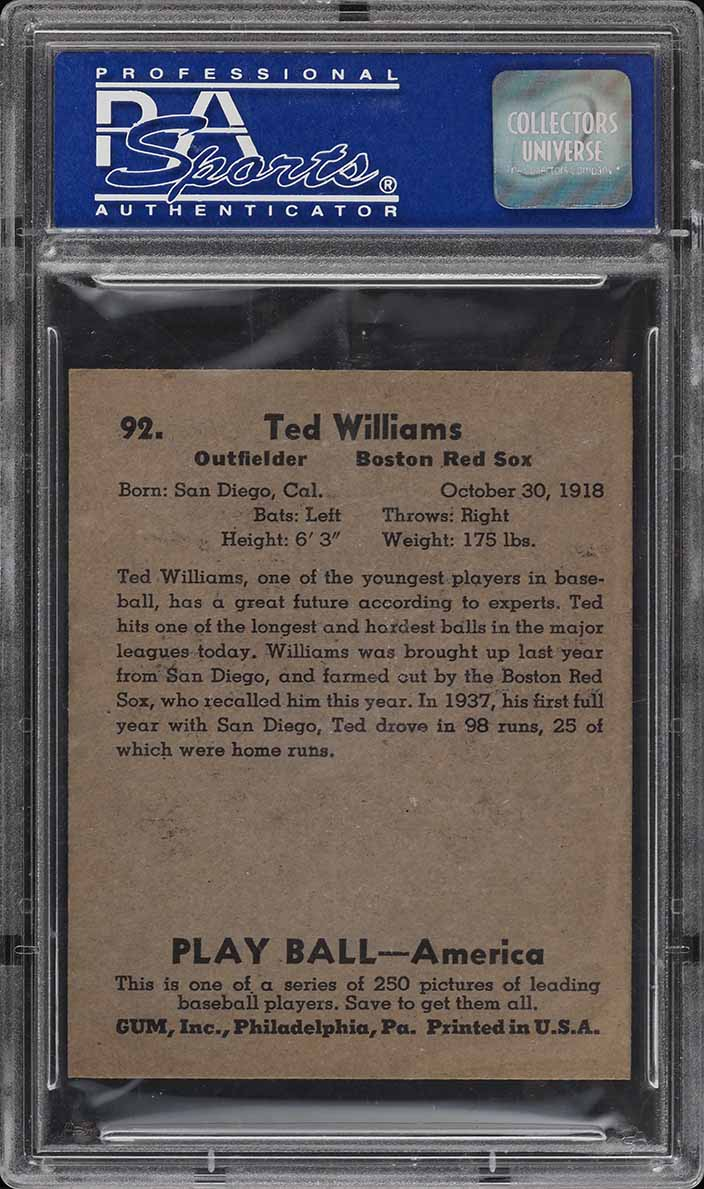 1939 Play Ball Ted Williams ROOKIE RC #92 PSA 8 NM-MT - Image 2