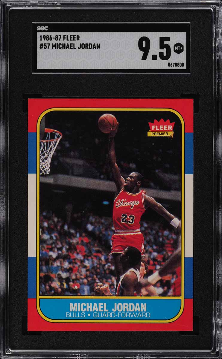 1986 Fleer Basketball Michael Jordan ROOKIE RC #57 SGC 9.5 MINT+ (PWCC-A) - Image 1