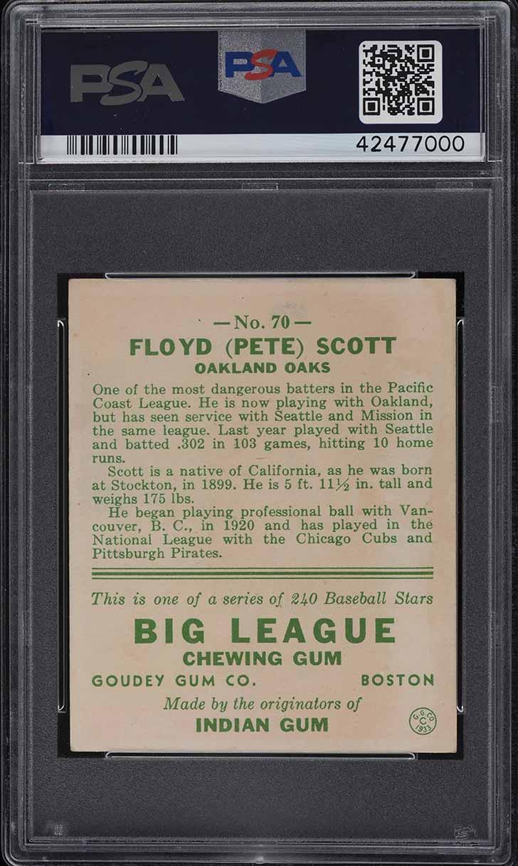 1933 Goudey Pete Scott #70 PSA 6 EXMT - Image 2