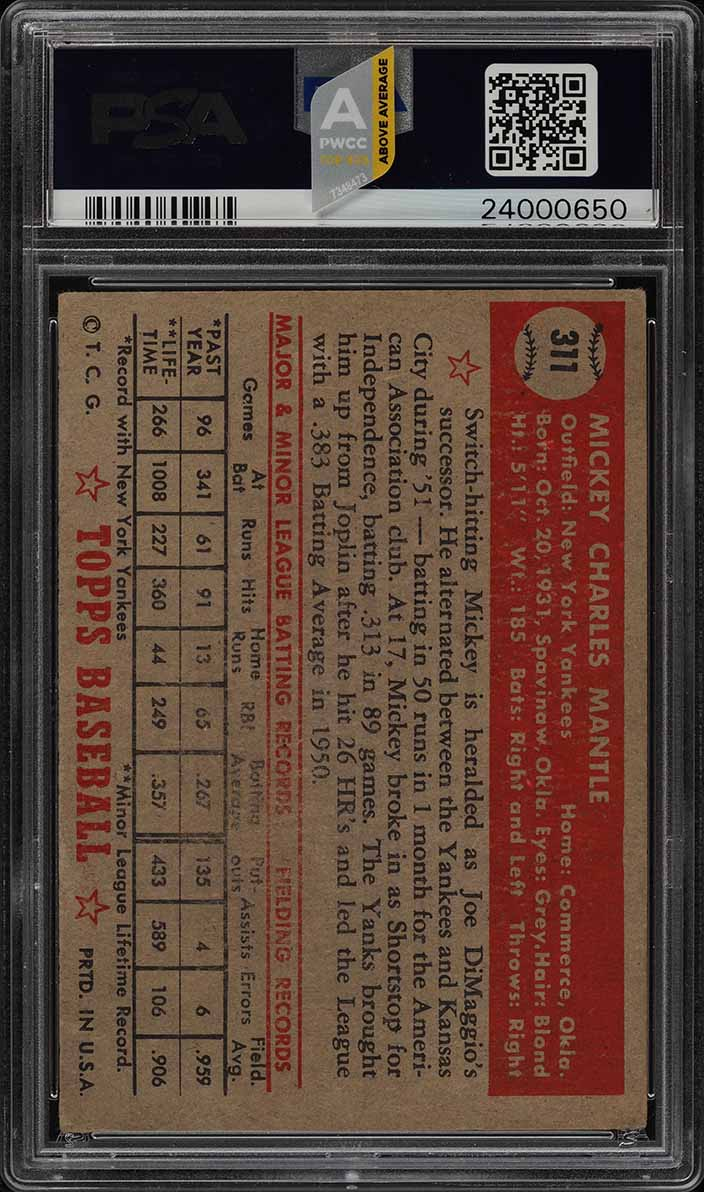 1952 Topps Mickey Mantle #311 PSA 2 GD (PWCC-A) - Image 2