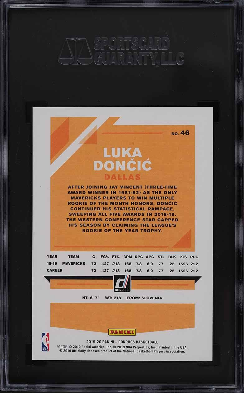 2019 Donruss Basketball Luka Doncic #46 SGC 10 GEM MINT - Image 2