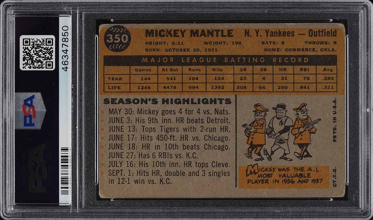1960 Topps Mickey Mantle #350 PSA 2 GD - Image 2