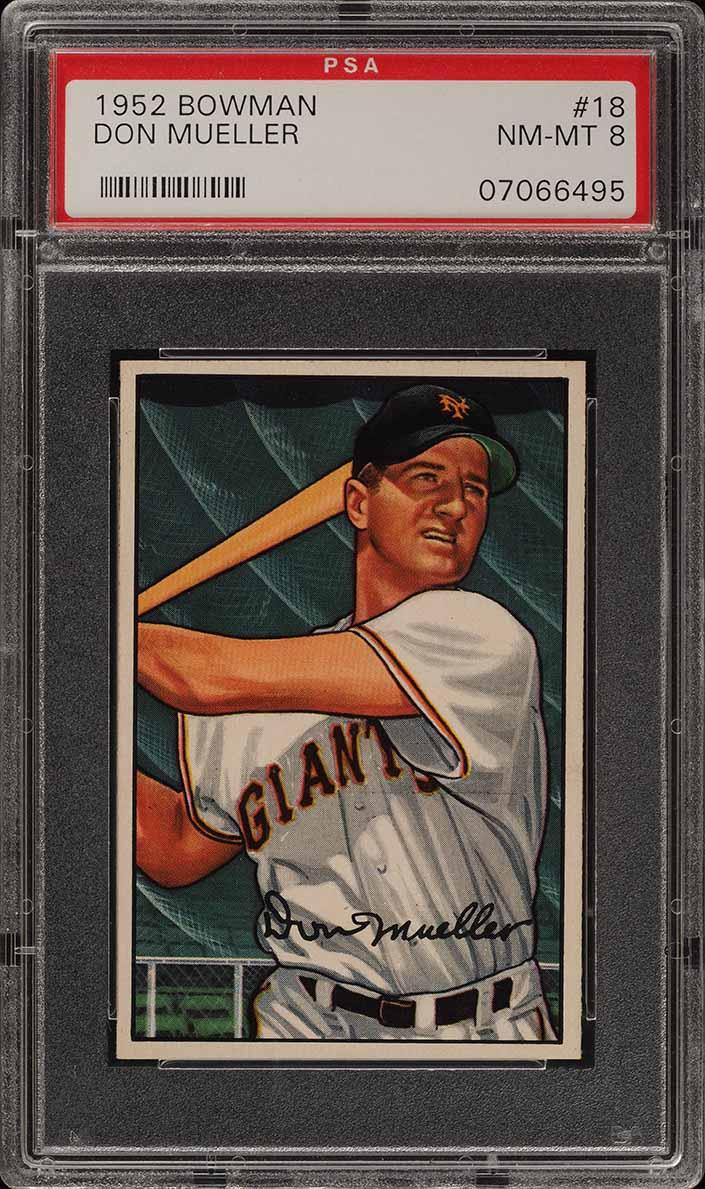 1952 Bowman SETBREAK Don Mueller #18 PSA 8 NM-MT (PWCC) - Image 1