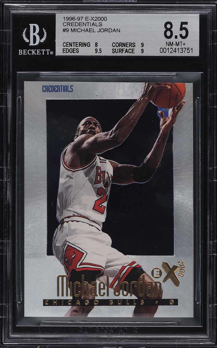 1996 Skybox E-X2000 Credentials Michael Jordan /499 #9 BGS 8.5 NM-MT+ - Image 1