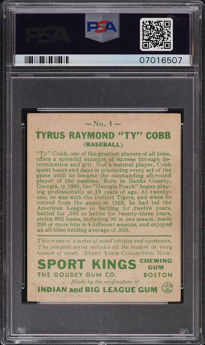 1933 Goudey Sport Kings Ty Cobb #1 PSA 7 NRMT - Image 2