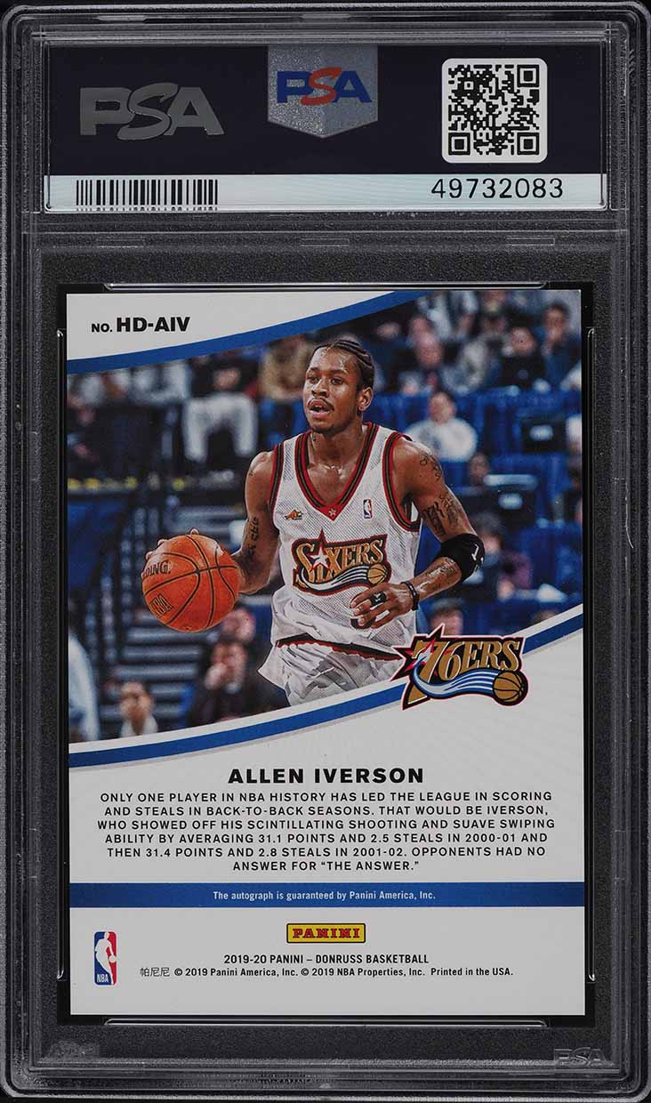 2019 Panini Donruss Hall Dominators Allen Iverson AUTO /99 PSA 10 GEM MINT - Image 2