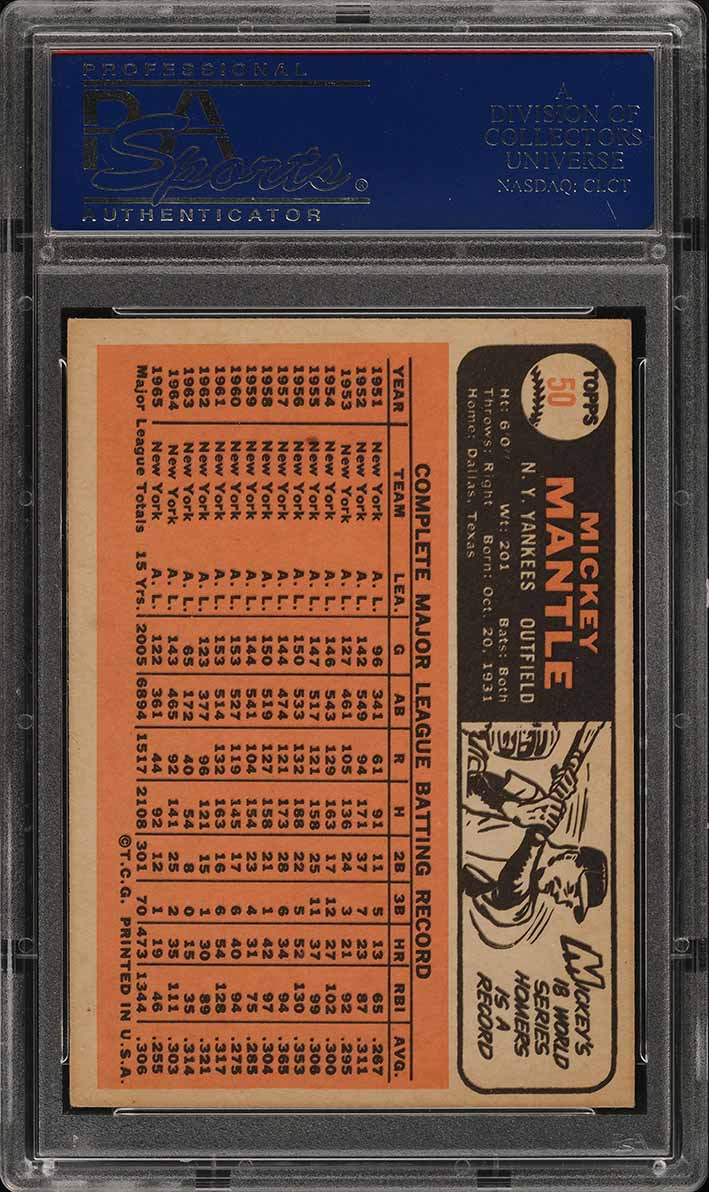 1966 Topps Mickey Mantle #50 PSA 4 VGEX (PWCC) - Image 2