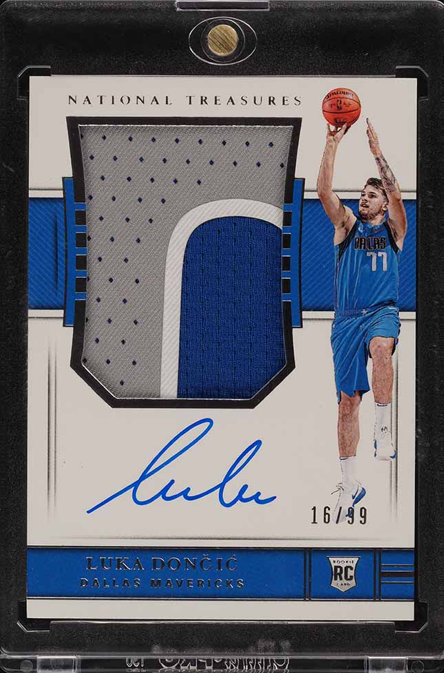2018 National Treasures Luka Doncic ROOKIE RC AUTO 3-CLR PATCH /99 #127 (PWCC) - Image 1