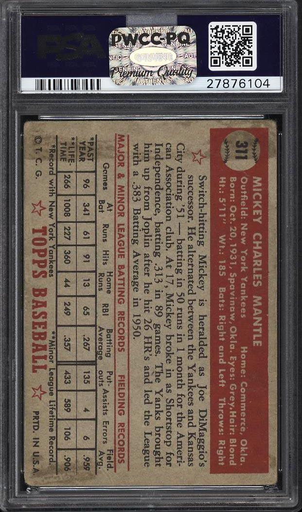 1952 Topps Mickey Mantle #311 PSA 1 PR (PWCC-PQ) - Image 2