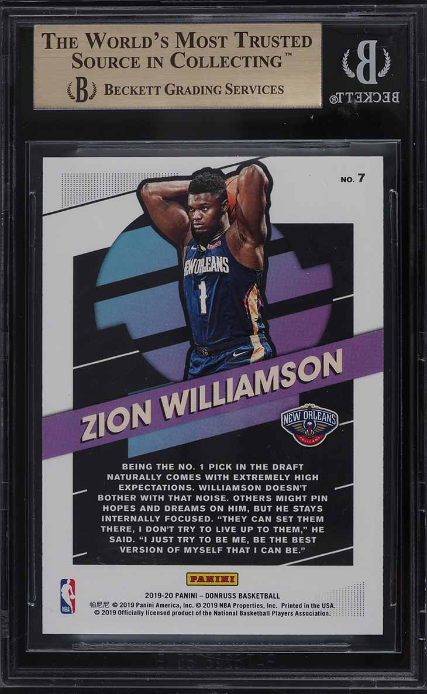 2019 Donruss Great X-Pectations Holo Purple Laser Zion Williamson RC /15 BGS 9.5 - Image 2