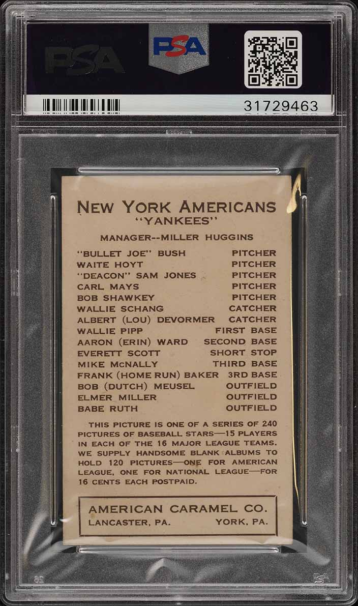 1922 E120 American Caramel Babe Ruth PSA 5 EX (PWCC) - Image 2