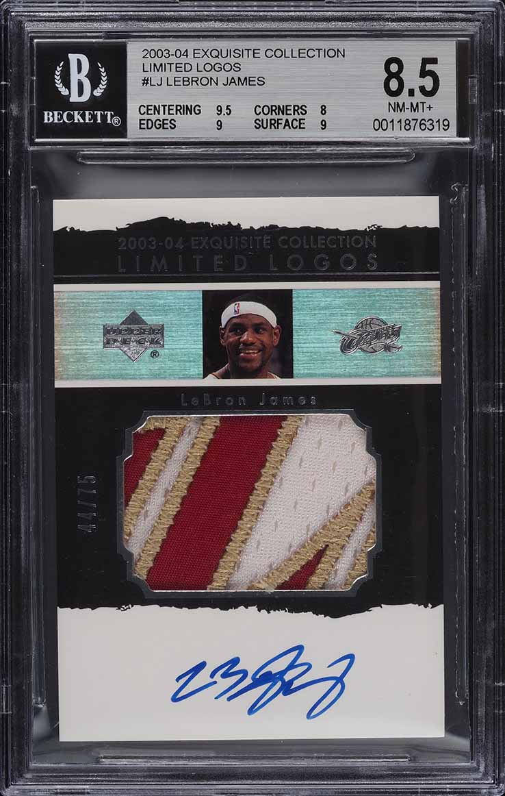 2003 Exquisite Collection Limited Logos LeBron James RC PATCH AUTO /75 BGS 8.5 - Image 1
