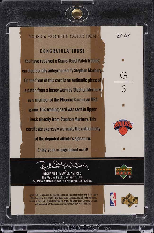 2003 Exquisite Collection Rainbow Stephon Marbury PATCH AUTO 1/1 #27-AP - Image 2