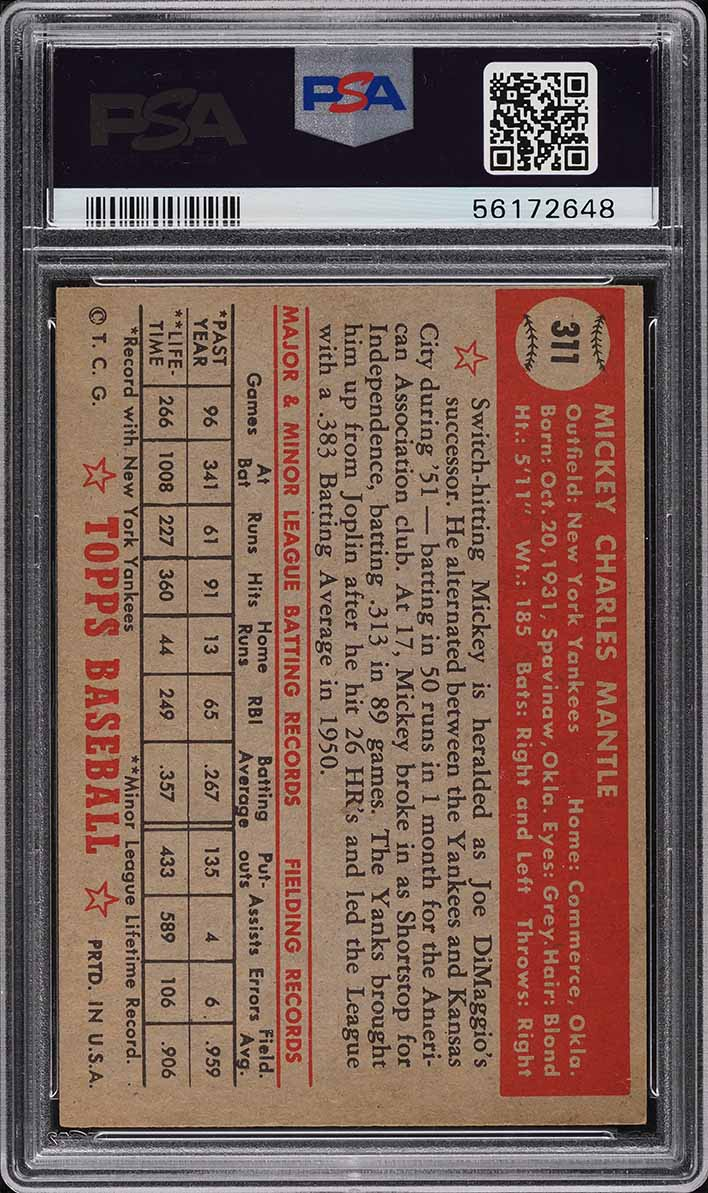 1952 Topps Mickey Mantle ROOKIE RC #311 PSA 5.5 EX+ - Image 2