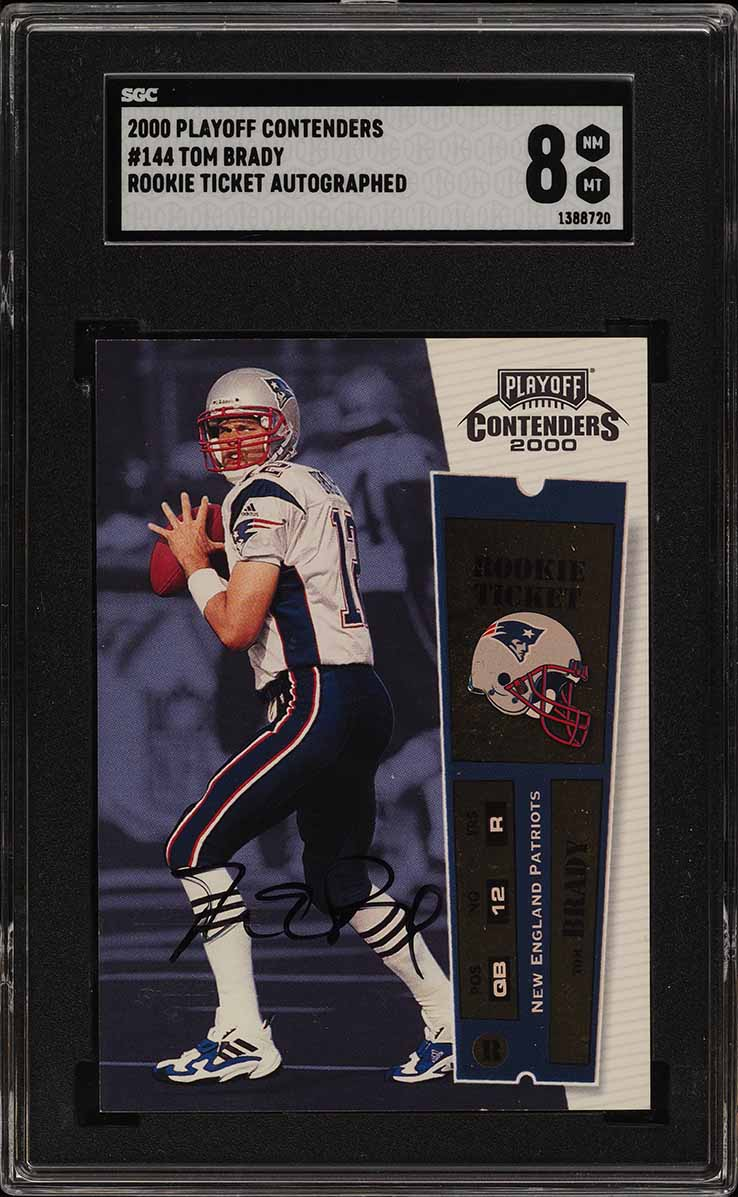 2000 Playoff Contenders Tom Brady ROOKIE RC AUTO #144 SGC 8 NM-MT (PWCC) - Image 1