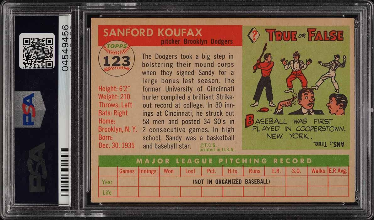 1955 Topps Sandy Koufax ROOKIE RC #123 PSA 8 NM-MT (PWCC) - Image 2