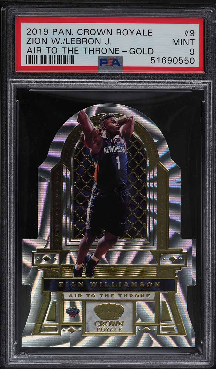 2019 Crown Royale Air To The Throne Gold Zion Williamson LeBron James 1/10 PSA 9 - Image 1