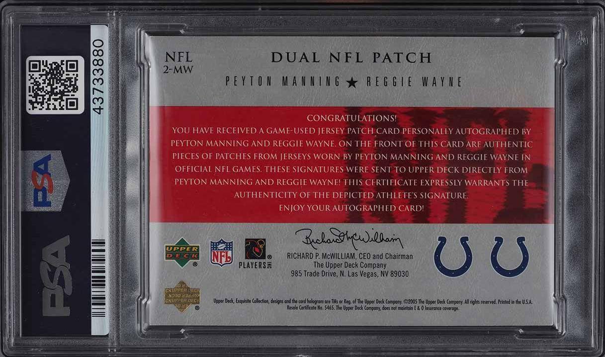 2005 Exquisite Peyton Manning Reggie Wayne LOGO NFL SHIELD PATCH AUTO 1/1 PSA 9 - Image 2