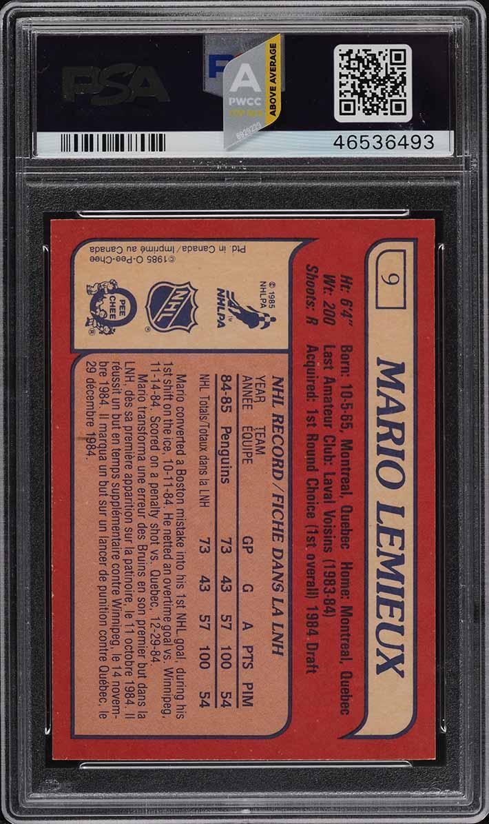 1985 O-Pee-Chee Hockey Mario Lemieux ROOKIE RC #9 PSA 10 GEM MINT (PWCC-A) - Image 2