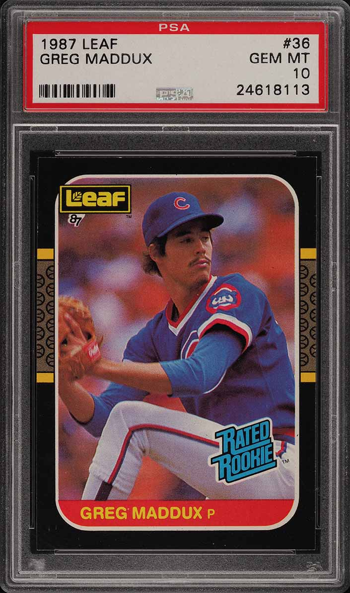 1987 Leaf Greg Maddux ROOKIE RC #36 PSA 10 GEM MINT (PWCC) - Image 1