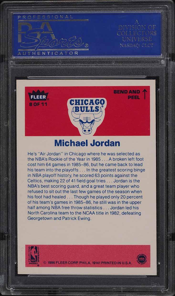 1986 Fleer Sticker Michael Jordan ROOKIE RC #8 PSA 10 GEM MINT - Image 2