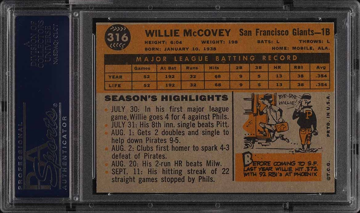 1960 Topps Willie McCovey ROOKIE RC #316 PSA 6 EXMT - Image 2