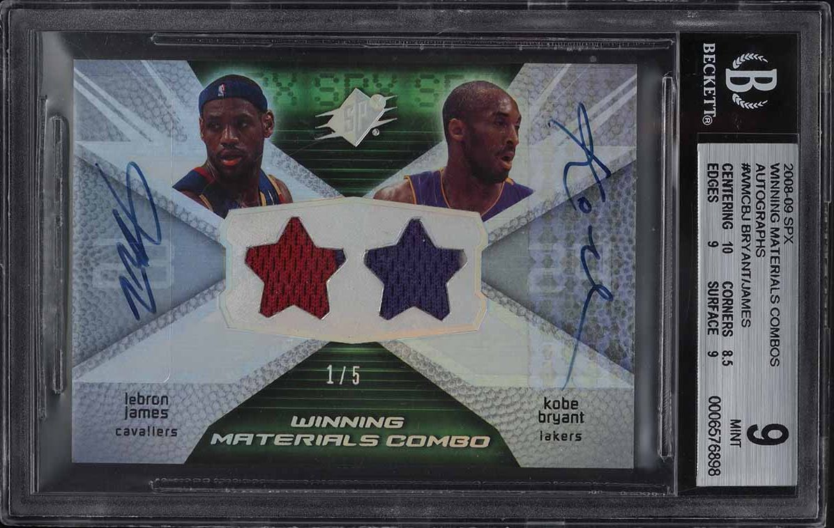2008 SPx Winning Combos Kobe Bryant & LeBron James PATCH AUTO 1/5 #WMCBJ BGS 9 - Image 1