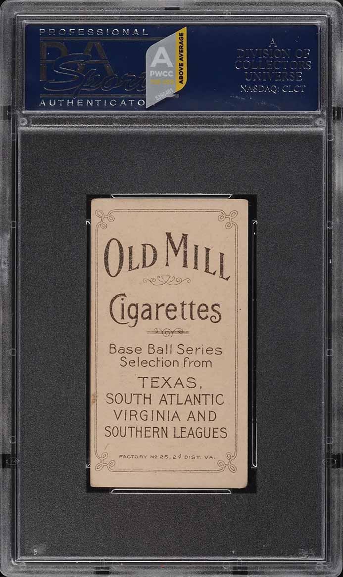 1909-11 T206 SETBREAK Jack Bastian SOUTHERN LEAGUER OLD MILL PSA 4 VGEX (PWCC-A) - Image 2