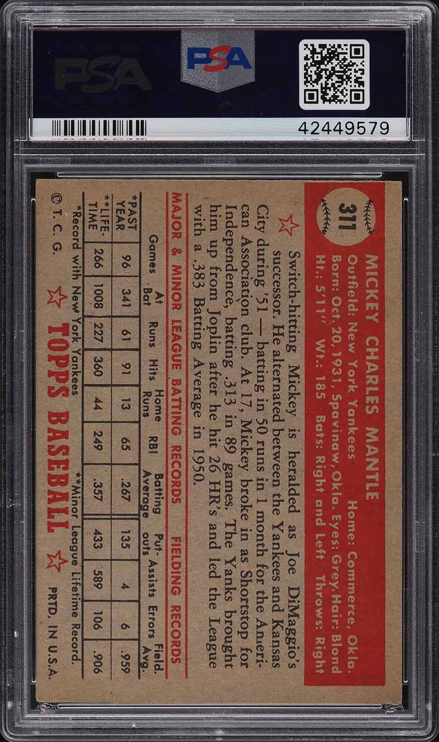 1952 Topps Mickey Mantle #311 PSA 4.5 VGEX+ - Image 2