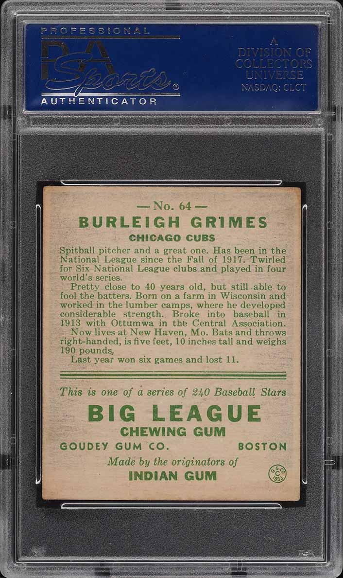 1933 Goudey Burleigh Grimes #64 PSA 5 EX - Image 2