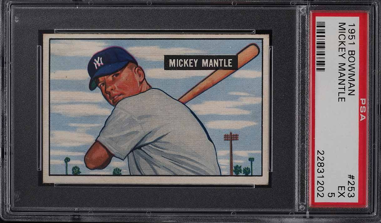 1951 Bowman Mickey Mantle ROOKIE RC #253 PSA 5 EX - Image 1