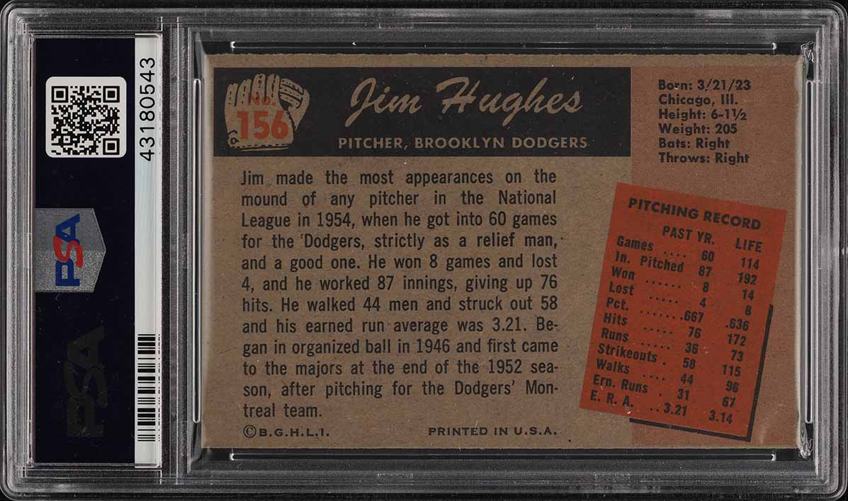 1955 Bowman Jim Hughes #156 PSA 8 NM-MT (PWCC) - Image 2