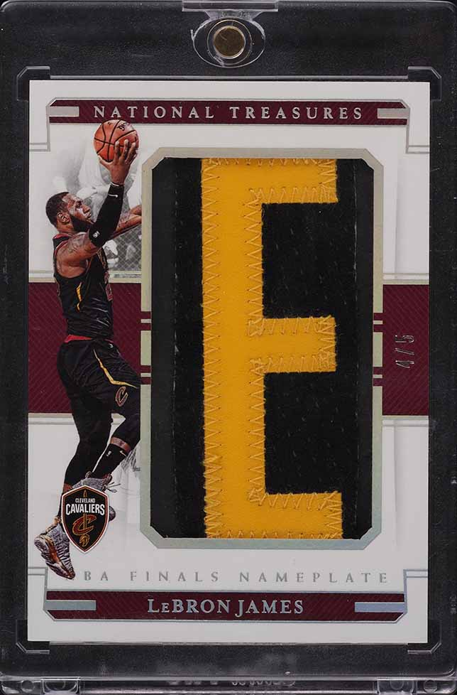 "2018 National Treasures NBA Finals Nameplate LeBron James LETTER ""E"" PATCH 4/5  - Image 1"