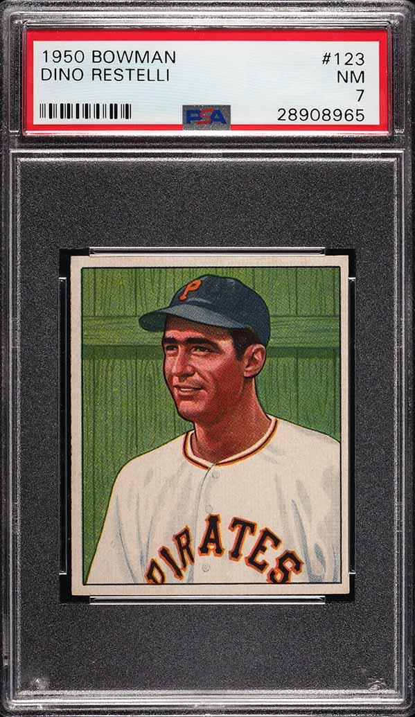 1950 Bowman Dino Restelli #123 PSA 7 NRMT (PWCC) - Image 1