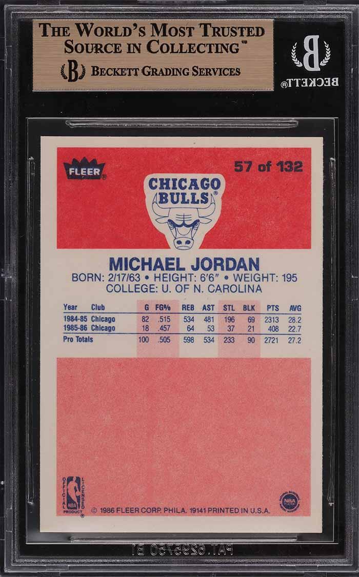 1986 Fleer Basketball Michael Jordan ROOKIE RC #57 BGS 9.5 GEM MINT - Image 2